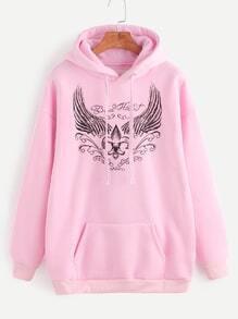 Sudadera con estampado de ala hombro caído con capucha y bolsillo - rosa