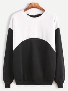 Black White Contrast Dropped Shoulder Seam Sweatshirt