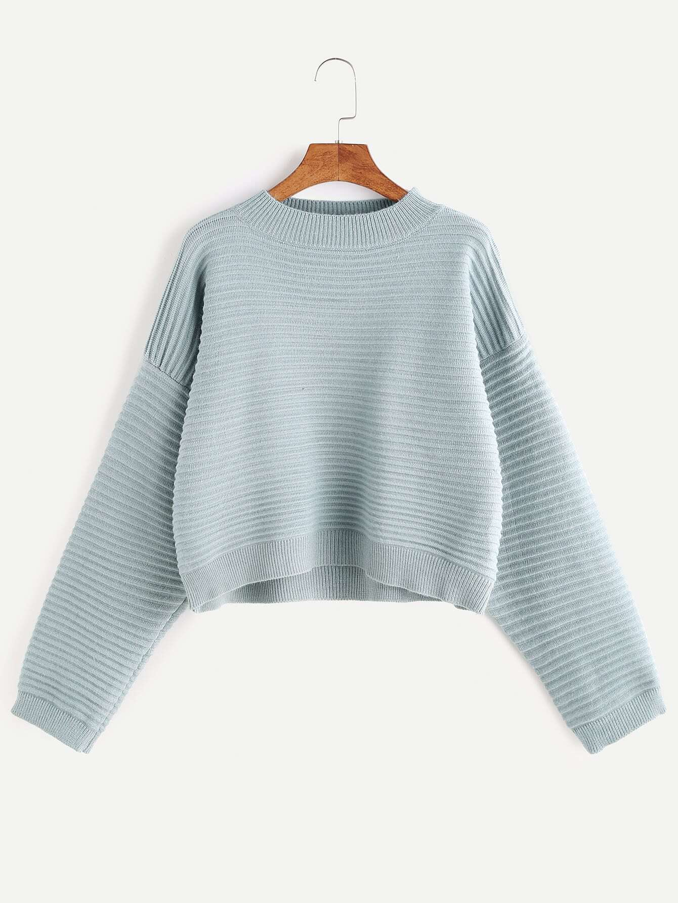 Dropped Shoulder Seam Stripe Textured Crop Sweater
