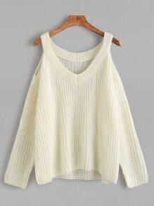 Jersey con cuello en V hombro abierto - beige