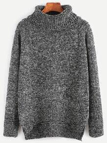 Turtleneck High Low Slit Side Slub Sweater