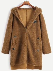 Brown Dip Hem Slit Side Patch Hooded Sherpa Coat