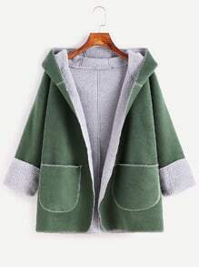 Green Dual Pocket Front Sherpa Lined Hooded Coat