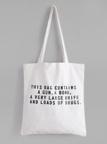 White Slogan Print Layered Canvas Tote Bag