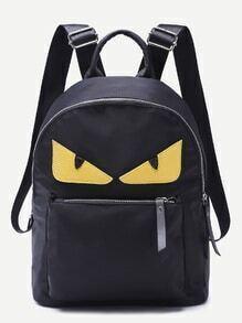 Monster Design Front Zipper Nylon Backpack