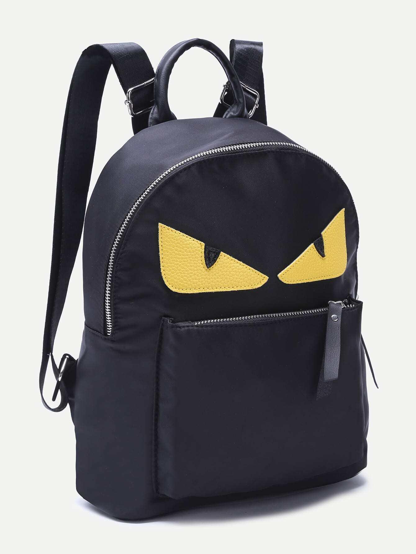 sac dos en nylon avec zip forme de monstre french romwe. Black Bedroom Furniture Sets. Home Design Ideas