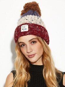 Red Colorblock Marled Pom Pom Applique Knit Hat