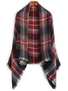 Echarpe carré écossais avec bord en frange - multicolore