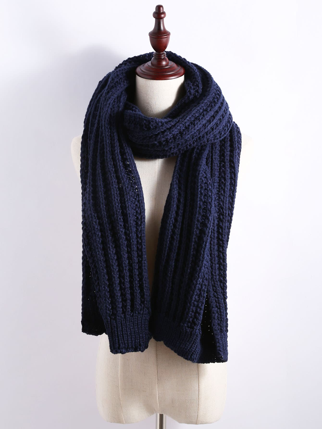 Navy Ribbed Chunky Knit Textured Scarf