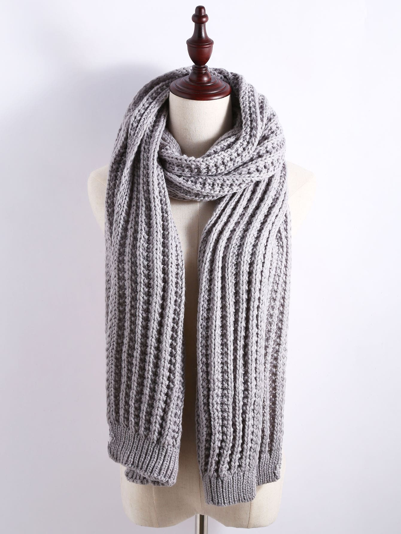 Grey Ribbed Chunky Knit Textured Scarf scarf161111008