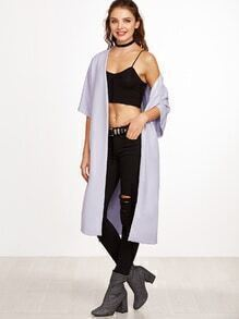 Pale Purple Half Sleeve Side Slit Wrap Coat