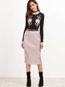 Pink Contrast Band Waist Straight Skirt
