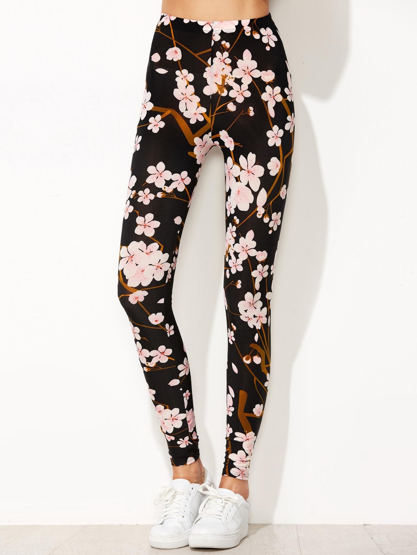 Black Floral Print Leggings