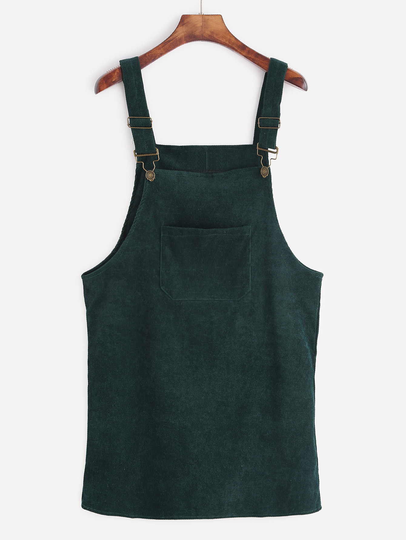 Dark Green Corduroy Overall Dress With Pocket