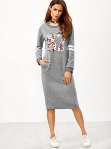 Vestido sudadera con estampado universitario espalda con abertura - gris