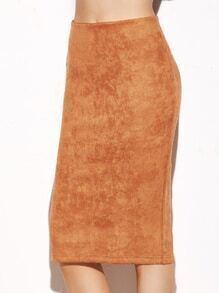 Camel Suede Slit Back Pencil Skirt