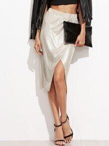 Metallic Silver Overlap Skirt