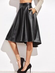 Black Faux Leather Asymmetric Paneled Skirt