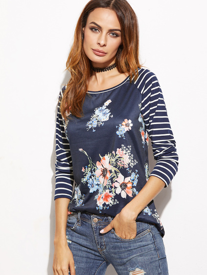 Navy Striped Raglan Sleeve Floral Print T-shirt