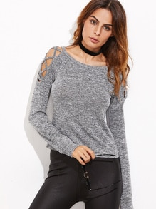 Grey Marled Crisscross Open Shoulder T-shirt