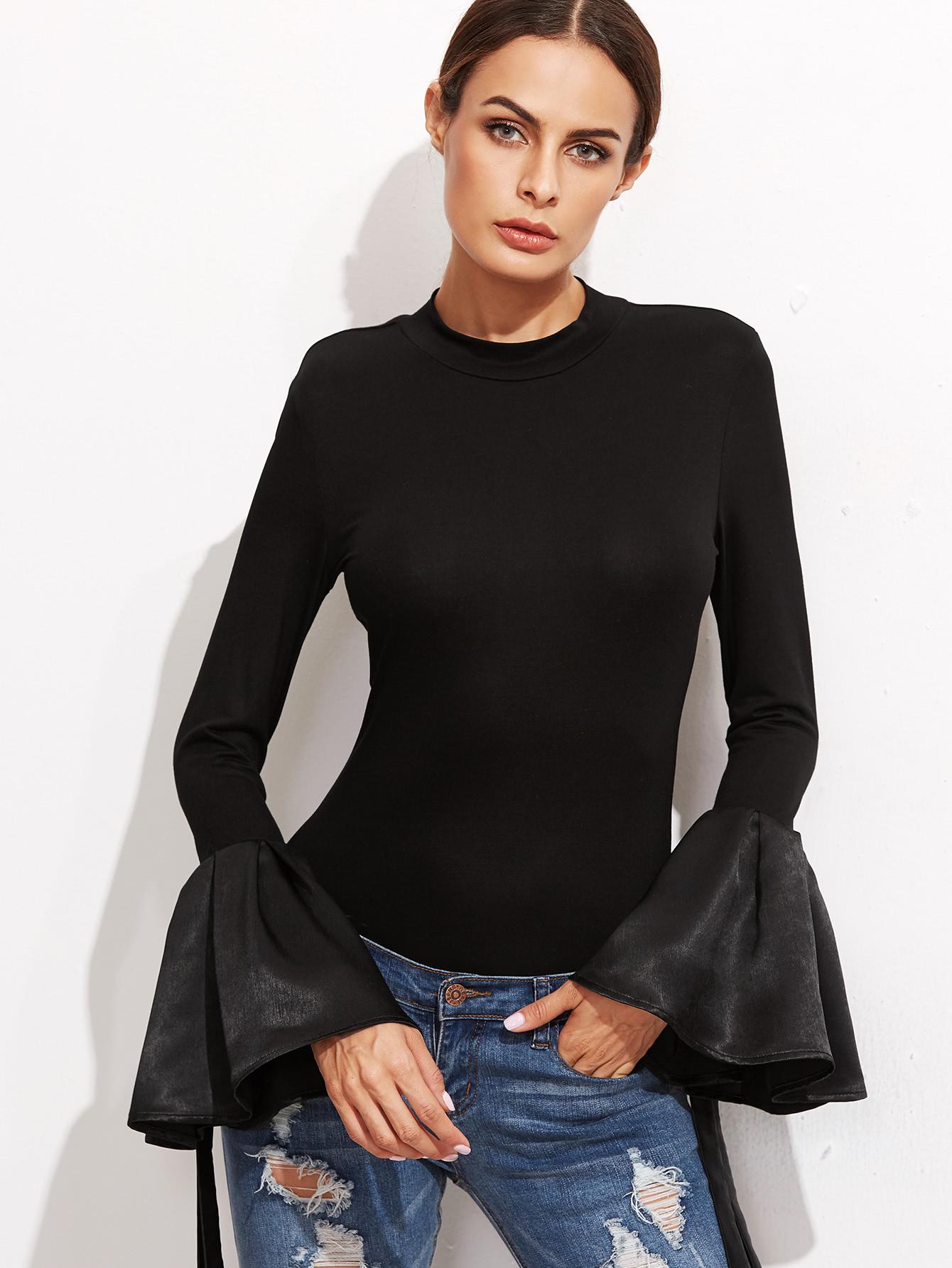 Black bell sleeve slim t shirtfor women romwe for Bell bottom sleeve shirt