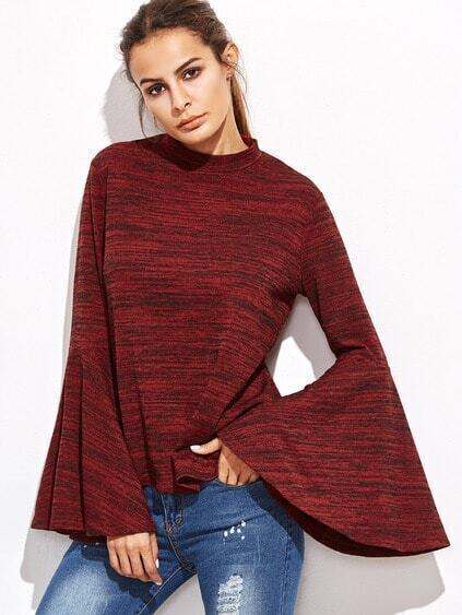 Red Marled Knit Bell Sleeve Split Back T-shirt