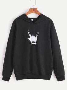 Sweat-shirt imprimé geste avec capuche - noir