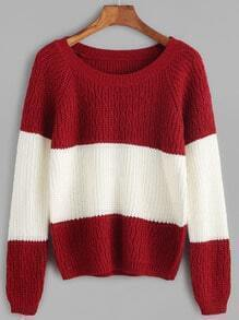 Color Block Raglan Sleeve Cable Knit Sweater