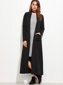 Abrigo largo con gargantilla - negro