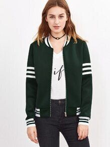 Dark Green Striped Trim Zip Up Bomber Jacket