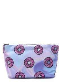 Sac à maquillage portable brillant imprimé en donut - rose