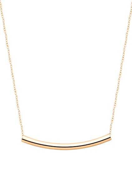 Gold Plated Curved Bar Pendant Necklace