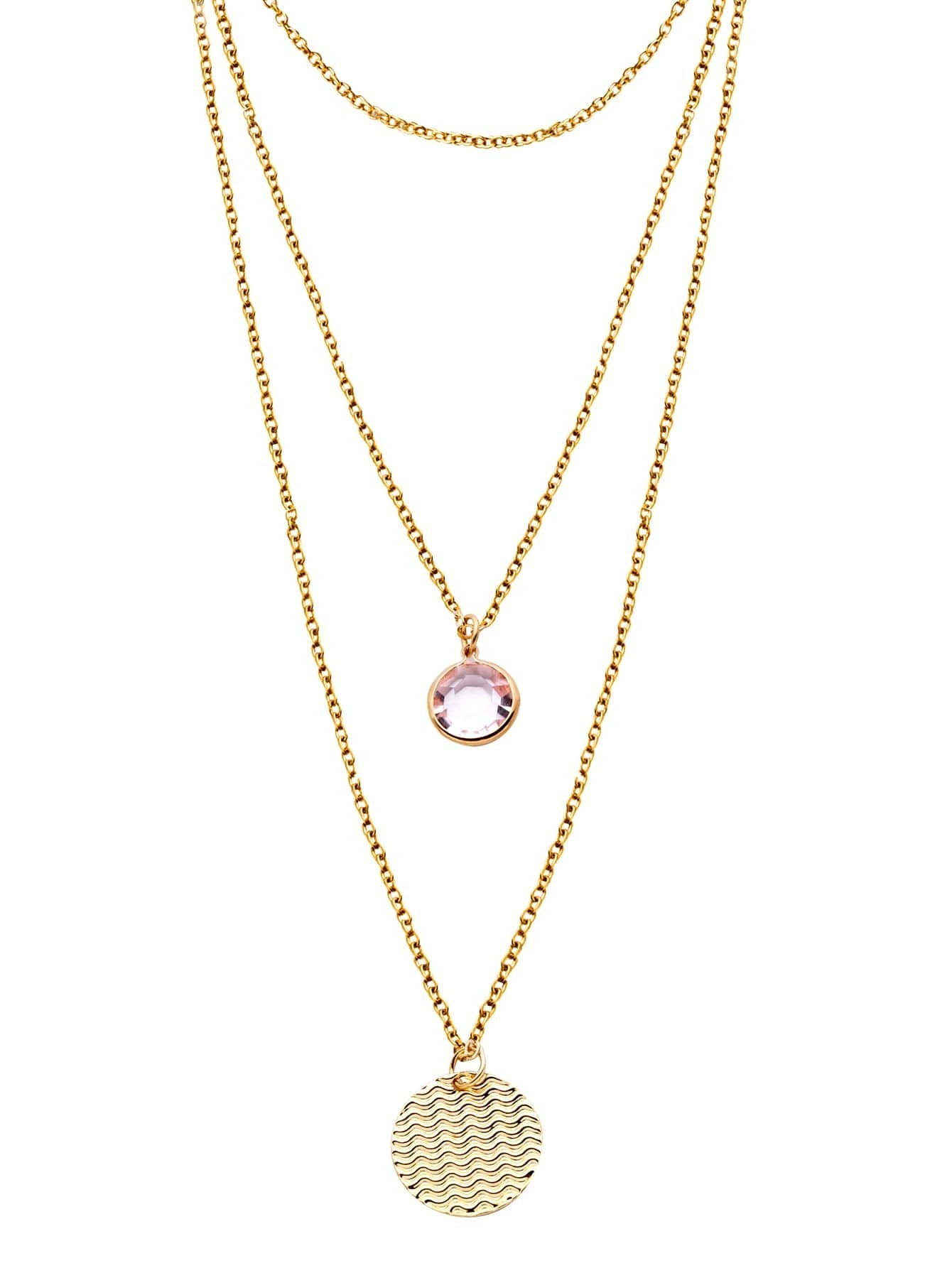 gold layered rhinestone coin pendant necklacefor