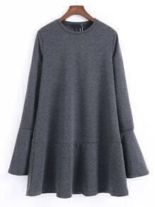 Robe plissé avec rein bas et manche de cloche - gris foncé