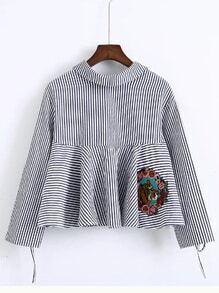 Blusa de rayas de manga con abertura - azul
