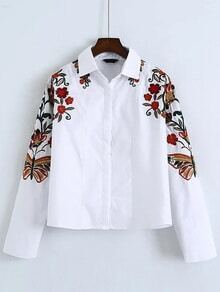 White Flower Embroidered Batwing Sleeve Shirt