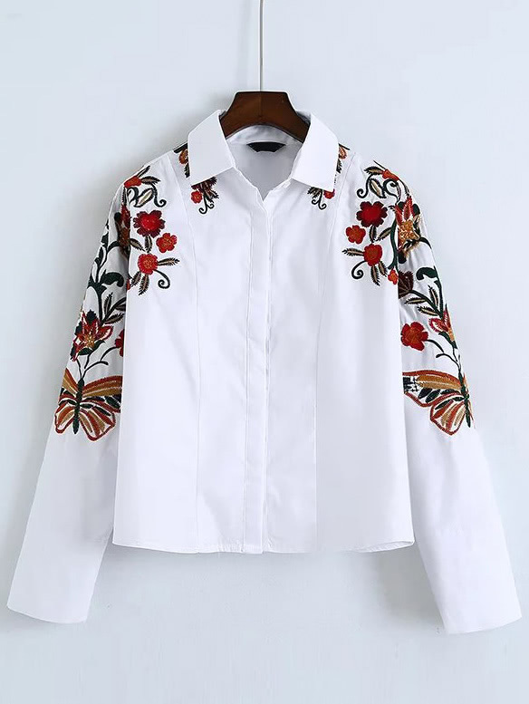 White flower embroidered batwing sleeve shirtfor women romwe