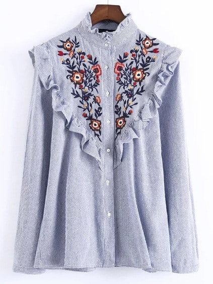 Blue Vertical Striped Flower Embroidered Ruffle Shirt