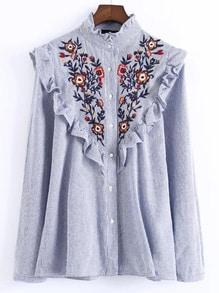 Chemise à rayé brodé floral de ruché -bleu