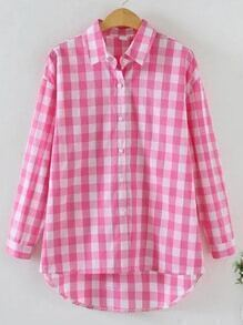 Pink Check Plaid High Low Shirt