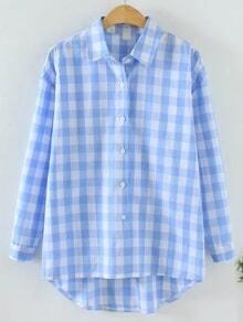 Blue Check Plaid High Low Shirt