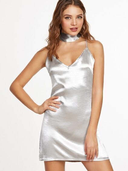 Silver Lattice Back Slip Dress With Neck Tie Detail
