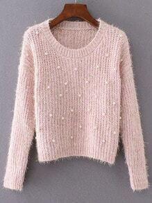Jersey con cuello redondo y cuentas - rosa