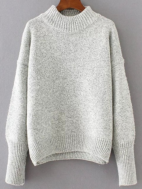 Grey Crew Neck Drop Shoulder Seam Sweater