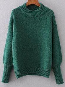 Jersey con hombro caído y cuello redondo - verde