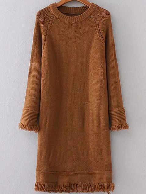 robe en laine manche raglan frange coup marron french romwe. Black Bedroom Furniture Sets. Home Design Ideas