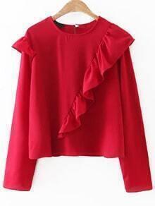 Red Long Sleeve Keyhole Back Ruffle Blouse