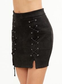 Black Suede Slit Lace Up Bodycon Skirt With Zipper