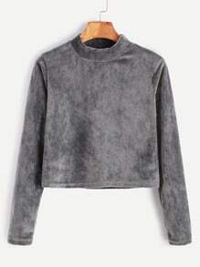 Grey Velvet High Neck Crop T-shirt