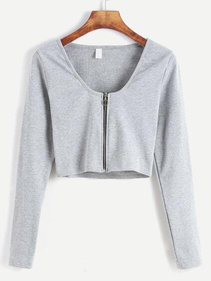 Pale Grey Zip Up Front Crop T-shirt